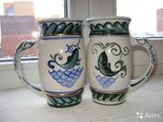 продам 2 одинаковые кружки керамика Кисловодск 1950год