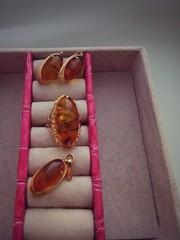 Набор из золота с камнем Янтарь